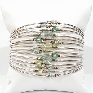 Multilayer Cuff Bracelet Green Blue Accents